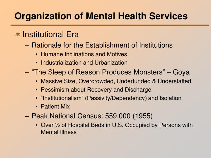 Organization of Mental Health Services