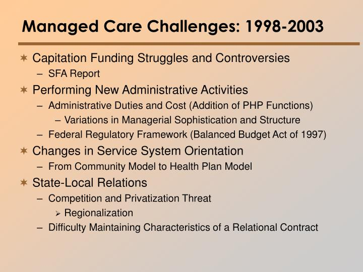 Managed Care Challenges: 1998-2003