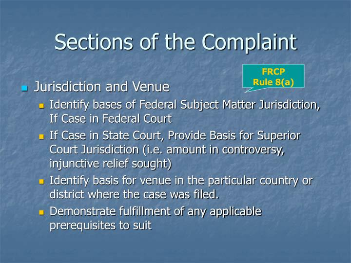 Sections of the Complaint