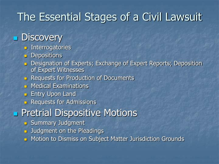 The essential stages of a civil lawsuit1