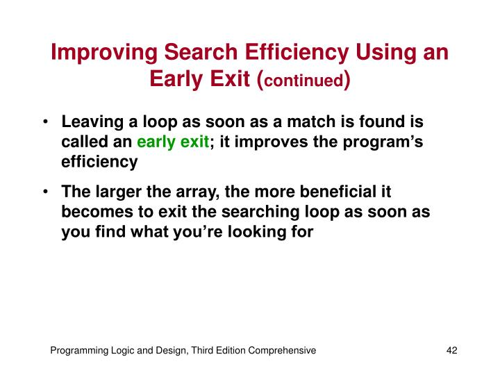Improving Search Efficiency Using an Early Exit (