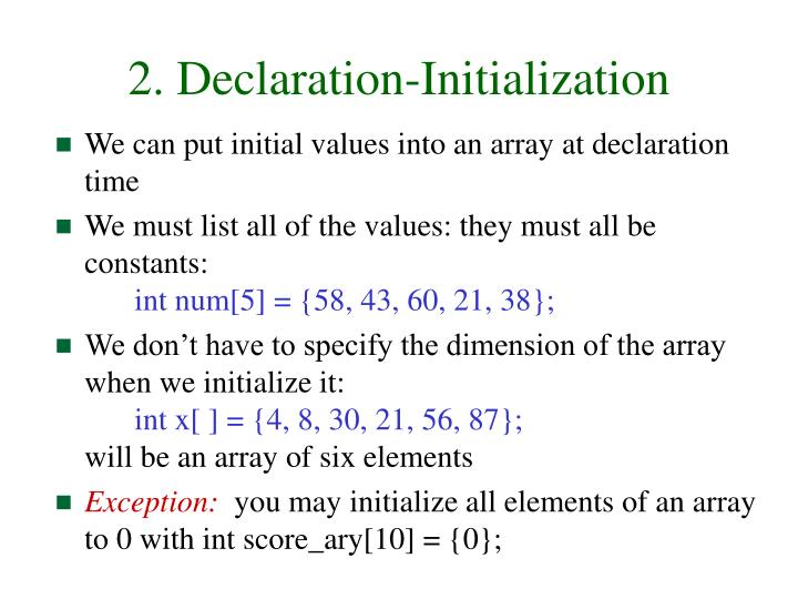 2. Declaration-Initialization