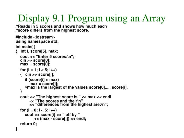 Display 9.1 Program using an Array