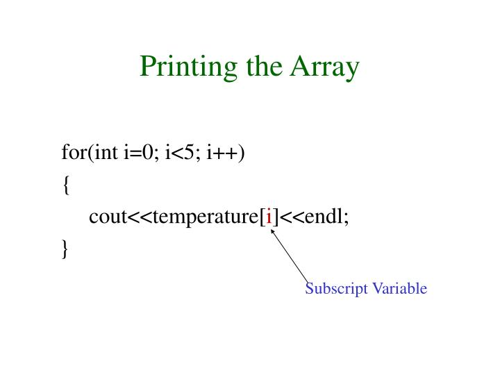 Printing the Array