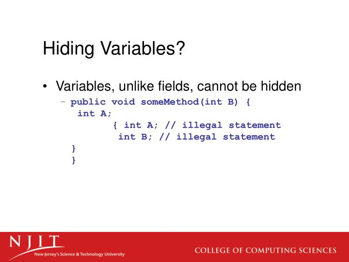 Hiding Variables?