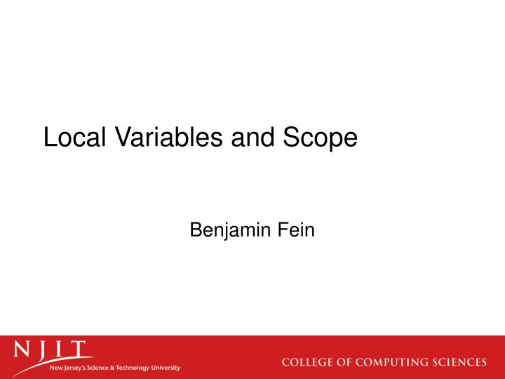 Local variables and scope