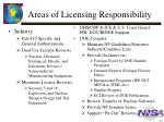 areas of licensing responsibility
