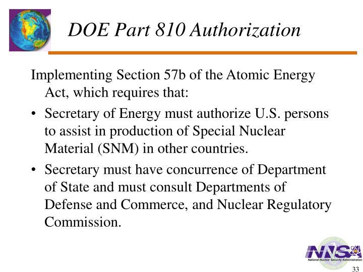 DOE Part 810 Authorization