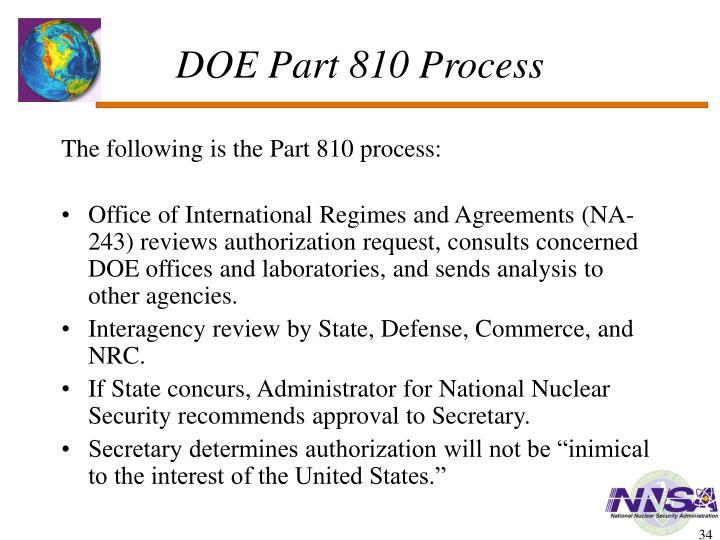 DOE Part 810 Process