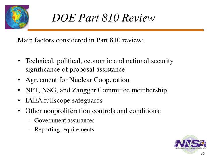 DOE Part 810 Review