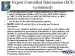 export controlled information eci continued