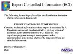 export controlled information eci1