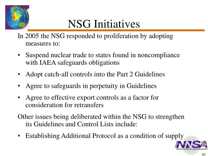 NSG Initiatives