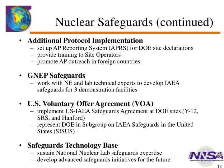 Nuclear Safeguards (continued)