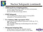 nuclear safeguards continued