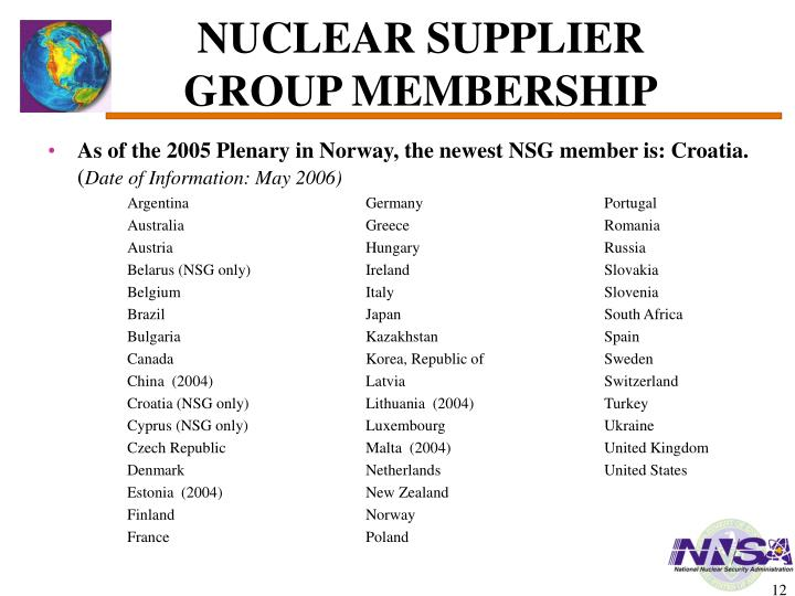 NUCLEAR SUPPLIER GROUP MEMBERSHIP