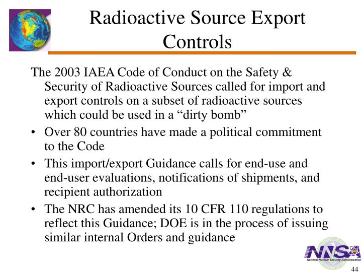 Radioactive Source Export Controls