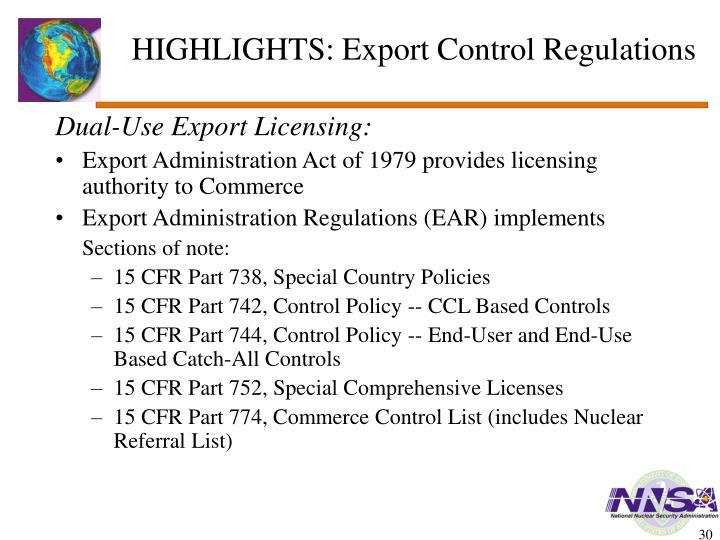 HIGHLIGHTS: Export Control Regulations