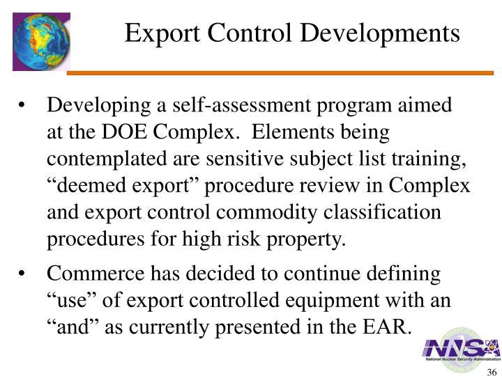 Export Control Developments