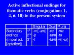 active inflectional endings for thematic verbs conjugations 1 4 6 10 in the present system1