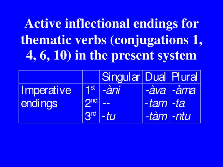 Active inflectional endings for thematic verbs (conjugations 1, 4, 6, 10) in the present system
