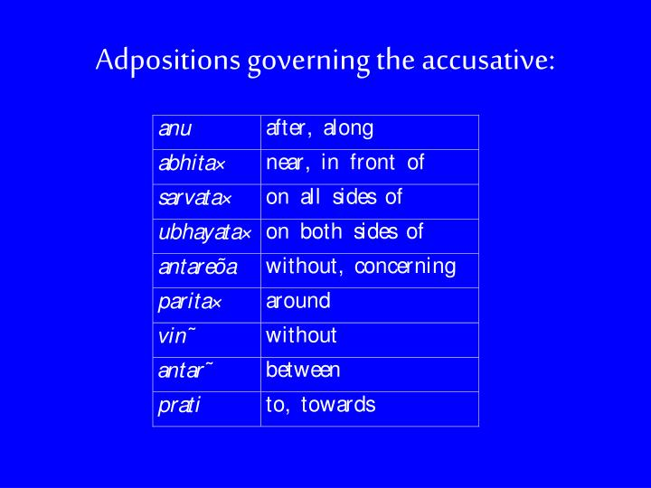 Adpositions governing the accusative: