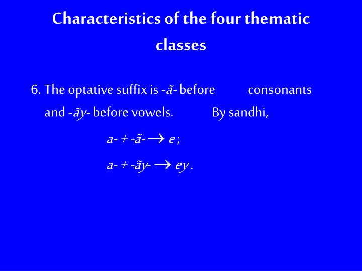 Characteristics of the four thematic classes