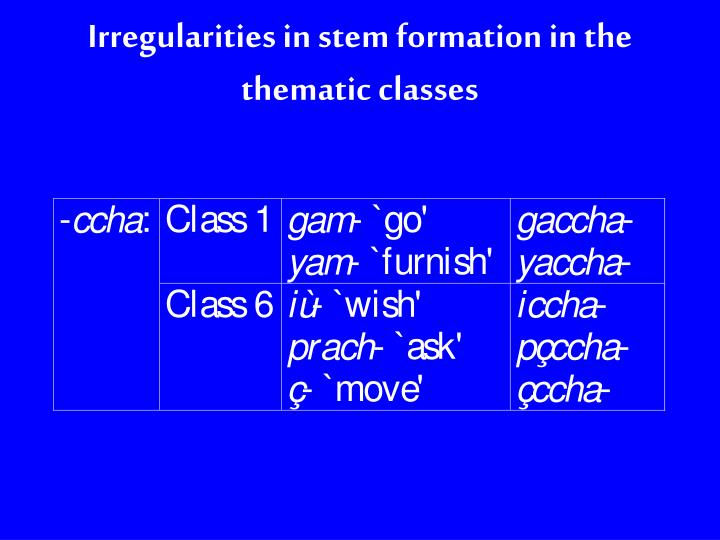 Irregularities in stem formation in the thematic classes