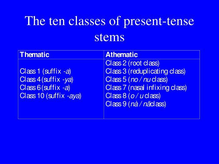 The ten classes of present-tense stems