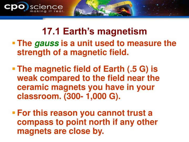17.1 Earth's magnetism