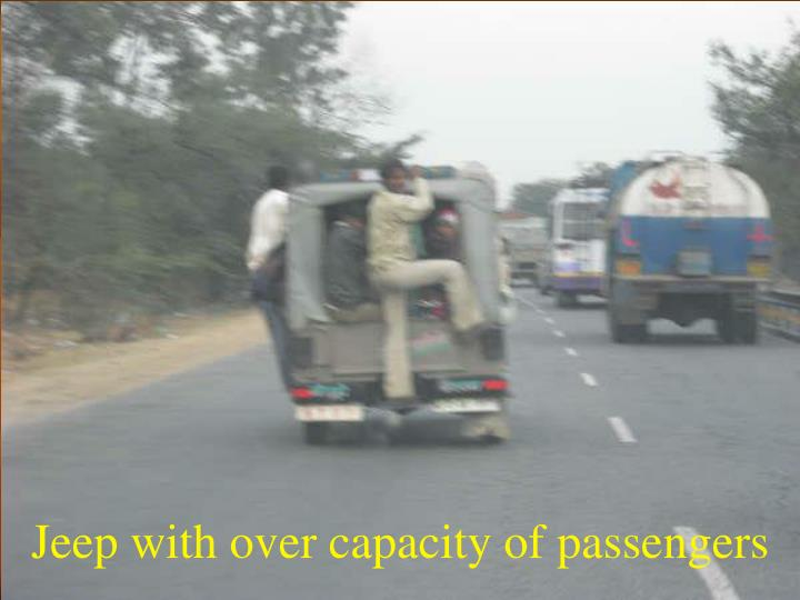 Jeep with over capacity of passengers