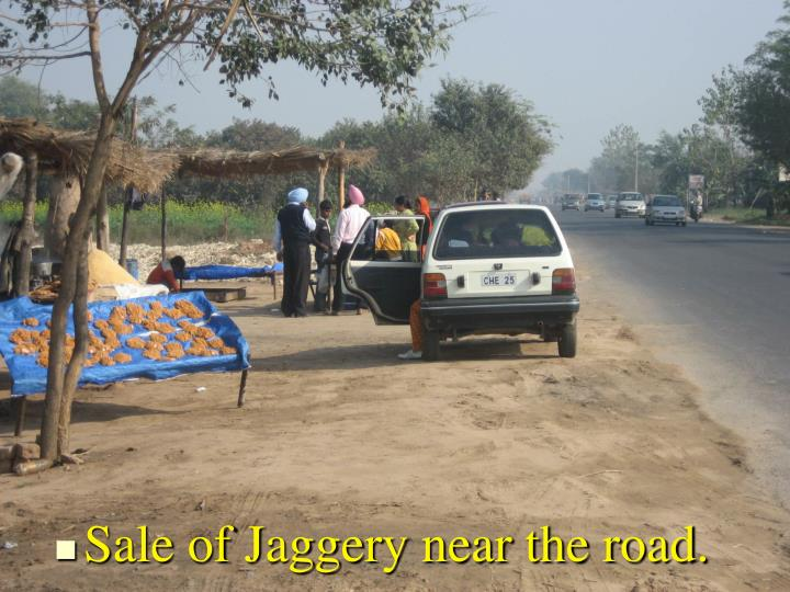 Sale of Jaggery near the road.