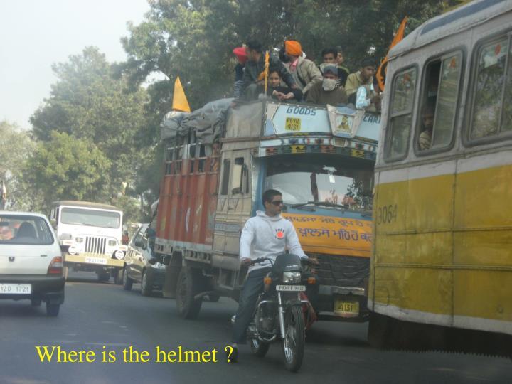 Where is the helmet ?