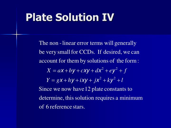 Plate Solution IV