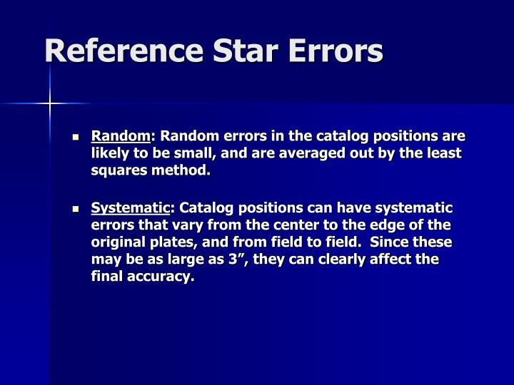 Reference Star Errors