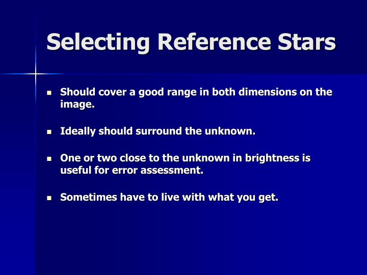 Selecting Reference Stars