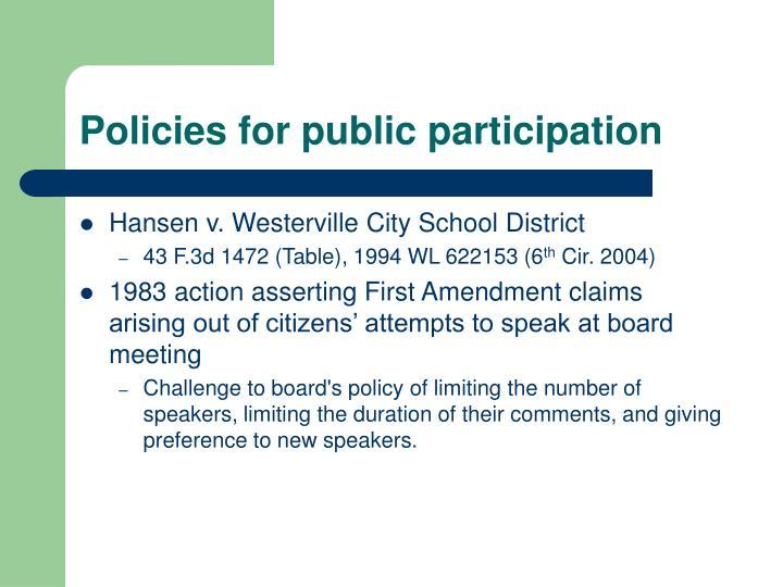Policies for public participation
