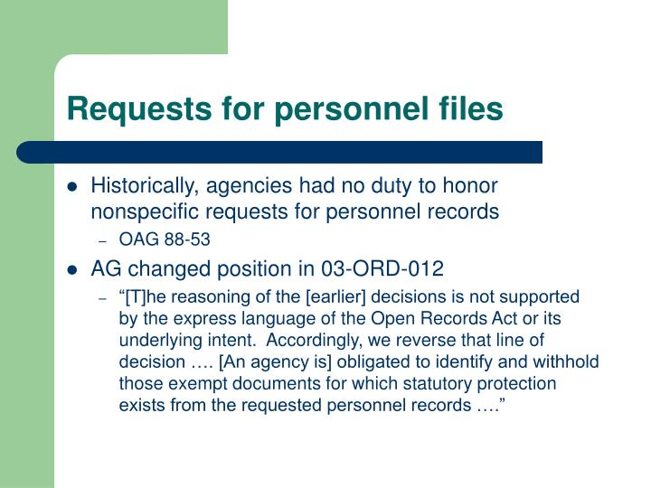 Requests for personnel files