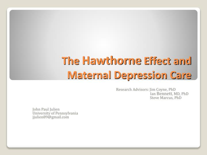 The hawthorne effect and maternal depression care