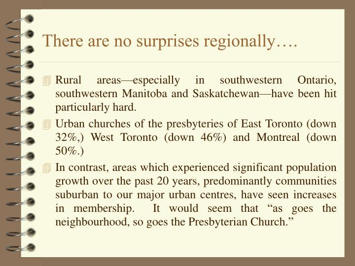 There are no surprises regionally….