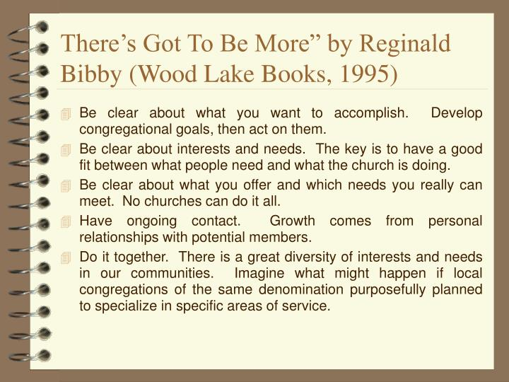"""There's Got To Be More"""" by Reginald Bibby (Wood Lake Books, 1995)"""