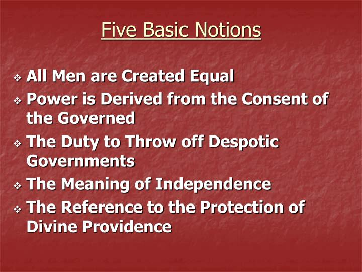 Five basic notions