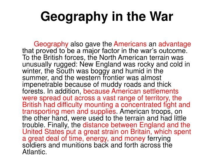 Geography in the War