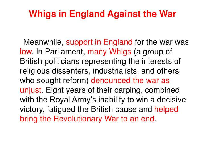 Whigs in England Against the War