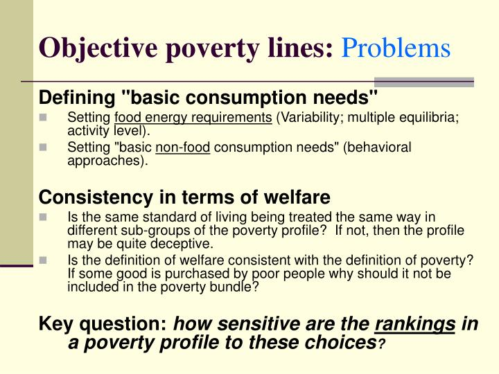 Objective poverty lines: