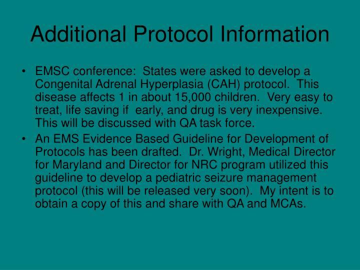 Additional Protocol Information