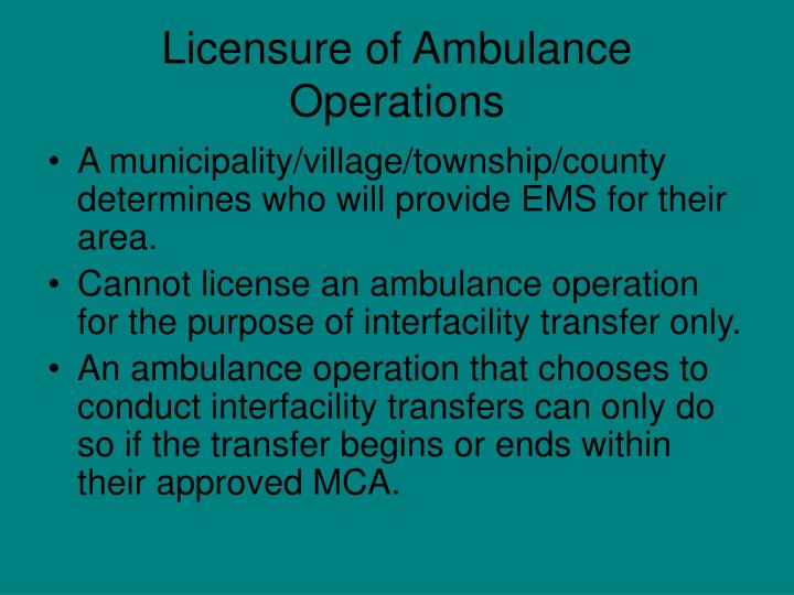 Licensure of Ambulance Operations