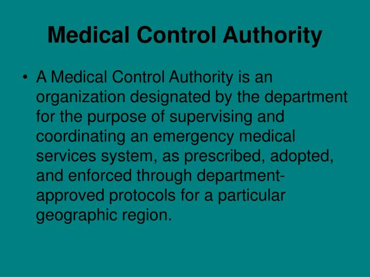 Medical Control Authority