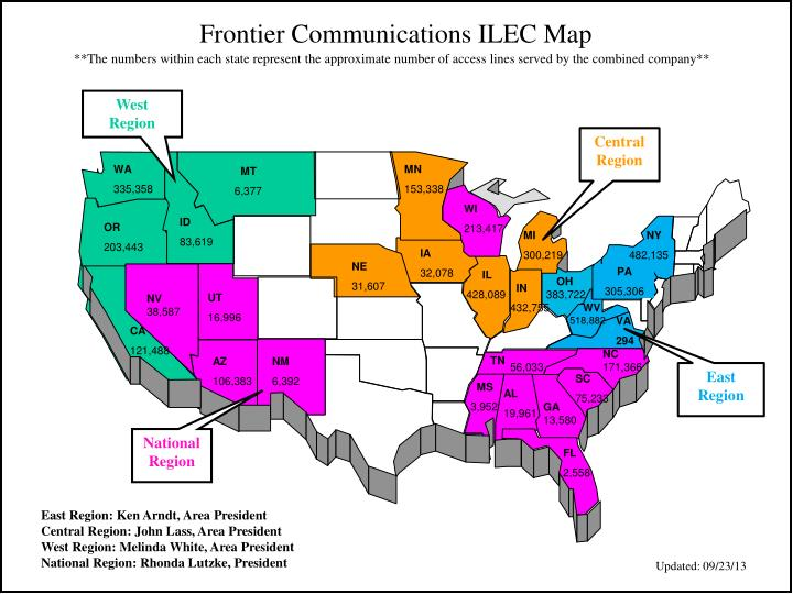 Frontier Communications ILEC Map