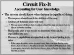 circuit fix it accounting for user knowledge